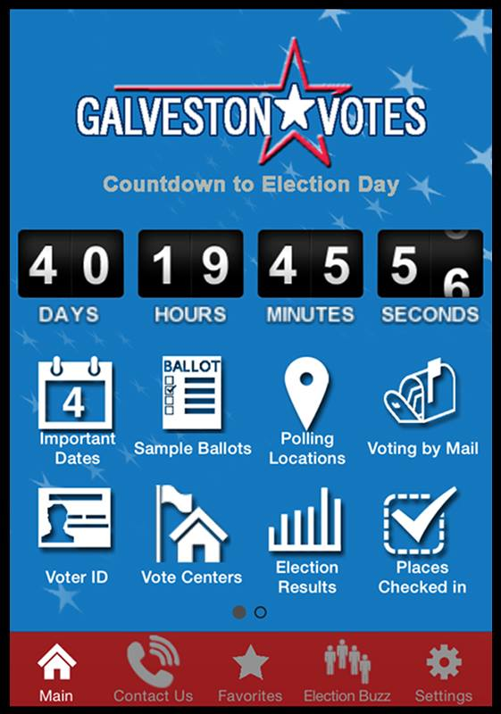 Image of the Galveston Votes prototype mobile application
