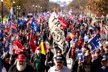 hundreds of thousands Trump supporters march in Washington DC