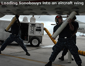 Air Crew loads Sonobouys into wing of an ASW aircraft